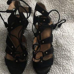 Old Navy Black Lace-Up Block Heels